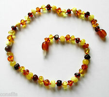 Genuine Baltic amber teething necklace, big multicolour baroque (round) beads