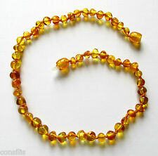 Genuine Baltic amber teething necklace, big honey shade baroque (round) beads
