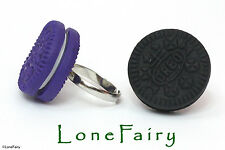Polymer Clay Oreo Biscuit Silver Plated Adjustable Ring Food Jewellery 4 Colours