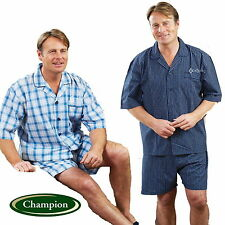 Mens Champion Richmond Polycotton Short Sleeve Check Short Pyjamas Size M to 3XL