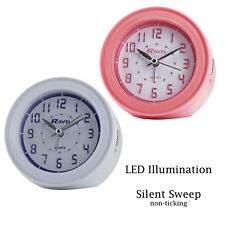 Ravel LED Alarm Clock Silent Sweep Round White/Pink Case RC005