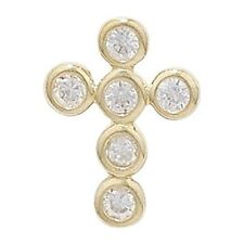 Childrens's 9ct Gold 6 Stone Cubic Zirconia Cross Pendant Necklace Kids Jeweller