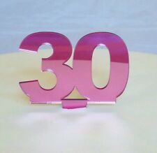 30 Cake Topper Pink 3mm Acrylic Mirror Sizes 6cm or 10cm