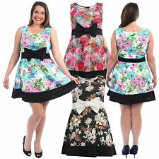 New Womens Plus Size Block Contrast Hem Flared Bow Skater Floral Dress 16-22