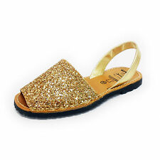 Glitter Gold Bling Avarcas Menorquinas Ladies Leather Flat Open Toed Sandal