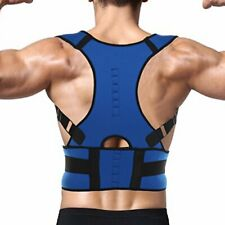 BLUE NEOPRENE MAGNETIC POSTURE CORRECTOR BAD BACK SHOULDER SUPPORT BELT BRACE