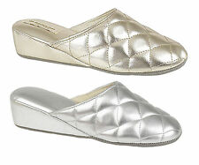 DUNLOP SYBIL WOMEN, LADIES WEDGE HEEL QUILTED METALLIC MULE SLIPPER SHOES NEW