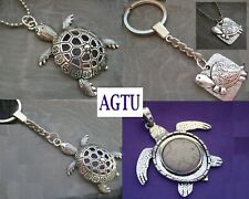 YOU PICK TURTLE Silver Large Tortoise Charm Pendant Keychain Necklace Gift AGTU