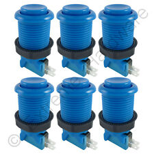 6 x 28mm Round Concave Happ Style Arcade Buttons & Microswitches (Blue) - MAME