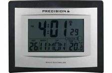 Precision Radio Controlled Black/ Silver LCD Wall Mountable / Desk Clock