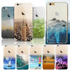 For iPhone 6 Plus 5.5'' Case Cover Scape Pattern Transparent Silicone Shell New