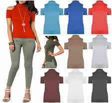 New Womens Ribbed Cold Shoulder High Low Polo Neck Side Slit T Shirt Top Tank
