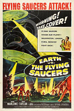PLAQUE ALU DECO AFFICHE EARTH VS THE FLYING SAUCERS SCI FI 1956
