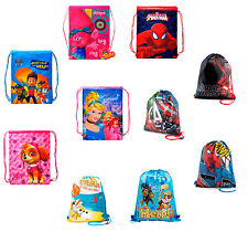 Kids Boys Girls Disney Drawstring Bag Gym Shoe Swim Nursery  PE School Backpack