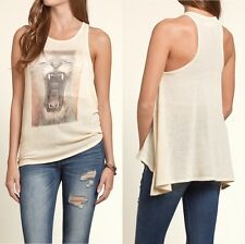 SALE -55% HOLLISTER Ladies' Drapey Knit Lion Graphic Tank Top