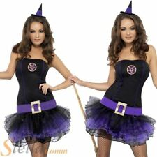 Ladies Sexy Fever Purple Tutu Witch Halloween Fancy Dress Costume Outfit + Hat