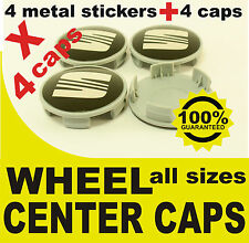 tapas llantas ruedas  wheel center caps 4 METAL STICKERS + 4 CAPS SEAT