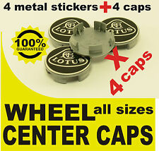 tapas llantas ruedas  wheel center caps 4 METAL STICKERS + 4 CAPS LOTUS BLACK