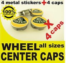 tapas llantas ruedas  wheel center caps 4 METAL STICKERS + 4 CAPS LOTUS