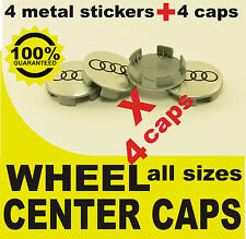 tapas llantas ruedas  wheel center caps 4 METAL STICKERS + 4 CAPS AUDI CHROME