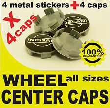 tapas llantas ruedas  wheel center caps 4 METAL STICKERS + 4 CAPS NISSAN BLACK