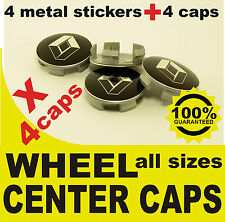 tapas llantas ruedas  wheel center caps 4 METAL STICKERS + 4 CAPS RENAULT BLACK