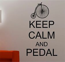 Keep Calm and PEDALE SU CICLISMO BICI ADESIVI artistici da parete DECALCOMANIA