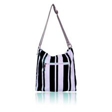 LYDC Gessy Stripe Black and Nude Pink Canvas Tote Shoulder Daily Student bag