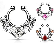 Nose RING Piercing Silver SEPTUM FAKE RING Crystals White Pink & Red