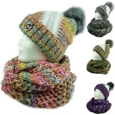 TAMMY Damen Winterset, Mütze Schal, Loopschal Beanie Wollschal Strickbeanie Set