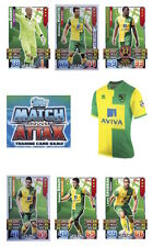Match Attax 2015/16 Trading Cards. Individual Base Norwich City 200-216