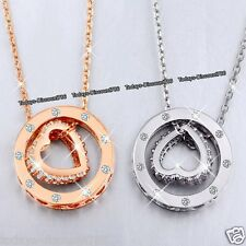 Rare Heart Ring Crystal Necklaces Love Xmas Gift For Her Wife Mum Daughter Women