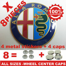 tapas llantas ruedas  wheel center caps 4 METAL STICKERS + 4 CAPS ALFAROMEO 7