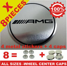 tapas llantas ruedas  wheel center caps 4 METAL STICKERS + 4 CAPS AMG CHROME