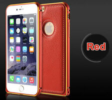 Aluminium Bumper Frame With Leather Back Cover Case For Apple iPhone 6 6S