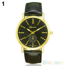 Men's Fashion Geneva Casual Faux Leather Band Quartz Analoge Wrist Watch 106