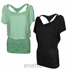 BENCH ANNALISE BNWT Two Layer Ladies Top Vest and Cropped T-Shirt Black and Mint