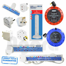1 2 4 6 10 Way Gang 2m 5m 10m Mains Extension Lead Cable Tower Surge Protected