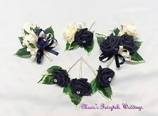 WEDDING FLOWERS BUTTONHOLE CORSAGE PACKAGE NAVY BLUE ROSE DIAMANTE CRYSTAL PEARL