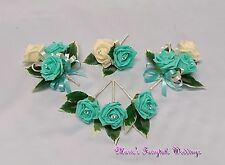 WEDDING FLOWERS BUTTONHOLE CORSAGE PACKAGE AQUA BLUE ROSE DIAMANTE CRYSTAL PEARL