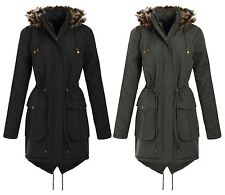 New Ladies Curve Long Sleeve Quilted Parka Hooded Winter Jacket 18-24