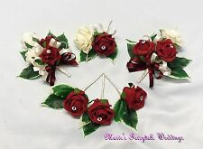 WEDDING FLOWERS BUTTONHOLE CORSAGE PACKAGE BURGUNDY ROSES DIAMANTE CRYSTAL PEARL