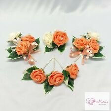 WEDDING FLOWERS BUTTONHOLE CORSAGE PACKAGE APRICOT ROSES DIAMANTE CRYSTAL PEARL