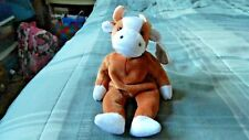 Ty Beanie Babies Bessie The Brown and White Cow Retired Korean 1995 PVC Pellets