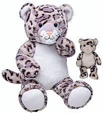 Build a Bear Mommy Snow Leopard 16 in. with Baby Stuffed Plush Toy BAB Animals