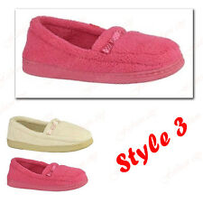 NEW WOMEN'S LADIES SOFT TOWELLING PADDED MOCCASIN  SLIPPERS UK SIZE 3-8