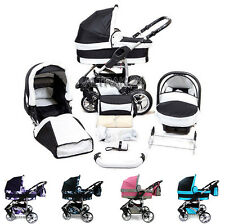 Baby Pram Stroller Buggy Pushchair Twing Karex 3in1 car seat +  swivel wheels