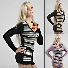 New Sexy Ladies Womens V-Neck Tunic Sweater Jumper Mini Dress Tops S/M/L 8/10/12