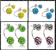 925 Sterling Silver Crystal 10mm Shamballa Ball Double Sided  Stud Earrings UK