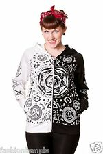 Banned Womens Black & White Gothic Moon & Stars Pentagram Print Hoodie Top